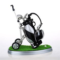 Mini desktop golf bag pen holder with lawn base and golf pens 5piece set of golf souvenir Tour souvenir novelty gift silver and black *** Want to know more, click on the image. Note:It is Affiliate Link to Amazon.