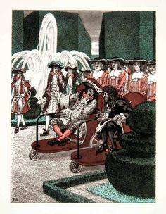 Pierre Brissaud (1885 – 1964). Louis XIV Le Notre Versailles. Gravure photolithographique, 1959. [Pinned 5-vii-2015]