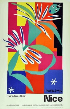 Nice Cote d'Azur, 1965 - original vintage travel advertising poster for Nice, Cote d'Azur featuring La Danseuse Creole (Creole Dancer) by Henri Matisse, listed on AntikBar.co.uk