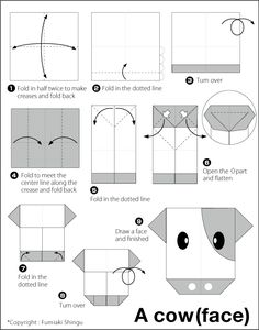 Cow (face) – Easy Origami instructions For Kids Origami Cat, Origami Animals, Origami Stars, Origami Flowers, Origami Paper, Origami Boxes, Origami Instructions For Kids, Easy Origami For Kids, Origami Tutorial