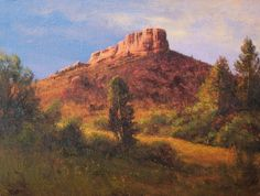 """First Light on Castle Rock"" l 9x12 I Dix Baines I Fine Artist l Original Oil Paintings I Colorado l Castle Rock Colorado l  Landscape l Mountains l www.dixbaines.com"