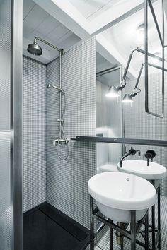 Black Bongio tap above Sanindua washbasin in Prague bathroom renovation.
