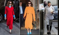 Victoria Beckham was seen leaving her New York hotel in a glamorous orange dress after a string of leaked emails lefther family's brand hanging in the balance.