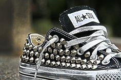 Chucks in every style/ color. My baby feeds my chucks addiction! Studded Converse, Bling Converse, Converse Shoes, All Star, Rockabilly Baby, Baskets, Back Bag, Shoe Art, Classy And Fabulous