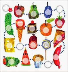 "Activity ideas for ""The Very Hungry Caterpillar"" from the Polish blog ""Head Full of Ideas."""