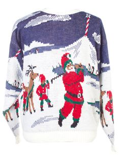 Santa goes golfing. #UglyChristmasSweater from TheSweaterStore.com