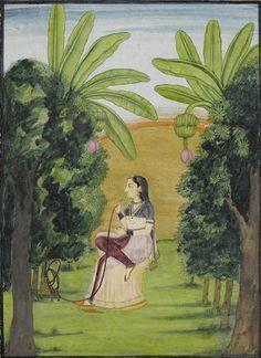 A maiden smoking a hookah in a landscape Pahari, circa 1830
