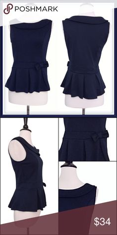ModCloth Peplum collared with side bow top ➖BRAND: ModCloth ➖SIZE: Medium ➖STYLLE: A navy blue peplum top that pleats out at the waist where there is a bow on the side. This is a cute flirty piece. ModCloth Tops Blouses