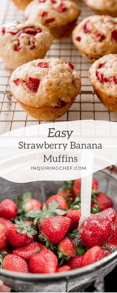 Use fresh or frozen strawberries to make these Strawberry Banana Muffins. Tart strawberries add a fresh contrast to the muffins that have the texture of a light, tender banana bread. Strawberry Banana Muffins, Strawberry Muffins, Strawberry Desserts, Frozen Desserts, Frozen Strawberry Recipes, Strawberry Tart, Easy Bread Recipes, Vegetarian Recipes Easy, Muffin Recipes