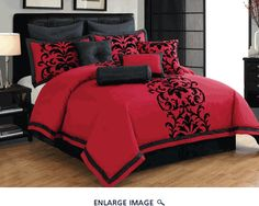 10 Piece Queen Dawson Black and Red Comforter Set http://www.kinglinen.com/dawson-red-q.html
