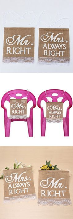 Rustic Burlap Lace Mr Right and Mrs Always Right Wedding Chair Decoration Banner, Wedding Photo Props, 9.5 x 11 inches