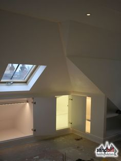 Loft conversion case study in Putney, London Front dormer loft conversion creating bedroom with ensuite. New staircase to loft. Attic Loft, Loft Room, Attic Rooms, Attic Spaces, Bedroom Loft, Attic Office, Attic Playroom, Attic Library, Attic House