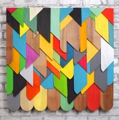 Geometric color cascade wall hanging