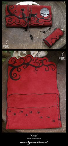 """Cats"" Leather Tobacco Pouch Painting on leather with acrylic metallic colors."