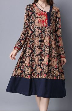 Women loose fitting over plus size retro ethnic flower dress midi tunic pregnant #Unbranded #dress #Casual