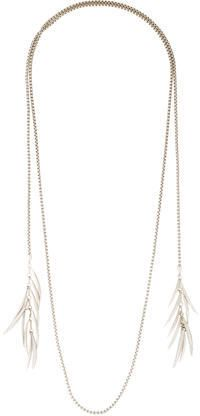 Eddie Borgo Metallic Pavé Crystal Prickle Lariat Necklace - The downtime of vacationing may bring you more time to get ready each day. Slip on this beautiful lariat necklace to add some shine to your look. Silver-tone Eddie Borgo box chain lariat necklace featuring Prickle accents at end with pavé crystal embellishments throughout.
