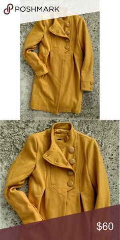 """Lux wool coat. Size XS. Mustard yellow This Lux coat is gorgeous! Length 35"""" Armpit to armpit 16"""" Lux Jackets & Coats"""