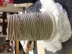 Work still in progress, coil constructed cylinder. Intro to ceramics