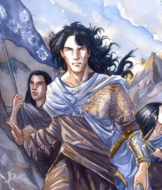 """The coming of Fingolfin. """"But as the host of Fingolfin marched into Mithrim the Sun rose flaming in the West, and Fingolfin unfurled his blue and silver banners, and blew his horns, and flowers sprang beneath his marching feet, and the ages of the stars were ended."""" Fingon, checking back to see if the host has trouble following; Turgon, lost in grief over his wife Elenwe; Finrod and his sister Galadriel, looking at Middle-earth for the first time in wonder."""