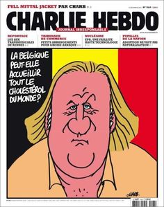 After Gerard Depardieu decided to leave France for Belgium to avoid taxes, <i>Charlie Hebdo</i> published a cover asking if Belgium had the capacity to welcome the entire world's cholesterol.