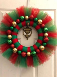 Excited to share this item from my shop: Christmas Tutu Wreath, Christmas Tulle Wreath, Christmas WreathRed & Green Tulle Christmas wreath with Green, Red & Gold Christmas Balls. This Christmas wreath will look festive on your door for the holiday se Christmas Tutu, Christmas Door Wreaths, Christmas Door Decorations, Holiday Wreaths, Christmas Ornaments, Christmas Entryway, Winter Wreaths, Spring Wreaths, Summer Wreath