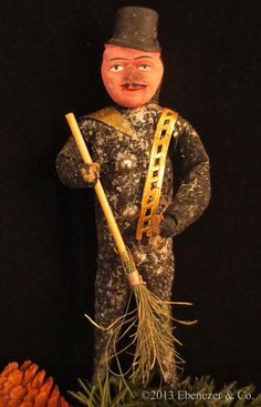 Reproduction German Style Spun Cotton Chimney Sweep Christmas Ornament by EbenezerandCompany on Etsy https://www.etsy.com/listing/163471245/reproduction-german-style-spun-cotton