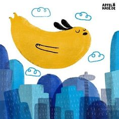 Apfelhase Illustration Flying dog Fliegender Hund #100dayproject #100daysofweirddogs Hunde, dogs, illustration, drawing, city, Stadt, fliegen