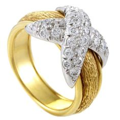 "Tiffany & Co. Schlumberger Yellow Gold & Platinum Diamond ""X"" Ring Platinum Diamond Rings, Gold Platinum, 18k Gold, Gold Band Ring, Gold Bands, Tiffany & Co., Ancient Jewelry, Fine Jewelry, Jewelry Rings"