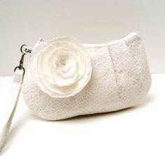 Bridal Bridesmaid Clutch Pleated Wristlet Purse by LMcreation