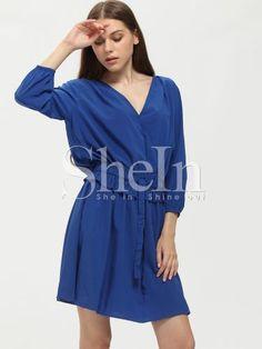 Blue Wrap Front Drawstring Waist Dress