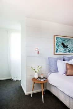 """""""Cladding crazy"""" is how Lana from Three Birds Renovations describes the Northmead project. Scyon cladding was used both indoors and outdoors to refresh this classic Australian home. Dream Bedroom, Home Bedroom, Diy Bedroom Decor, Home Decor, Bedroom Ideas, Budget Bedroom, Master Bedroom, Bedroom Designs, Home Renovation"""
