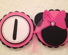 Minnie Mouse highchair banner, Minnie Mouse birthday banner
