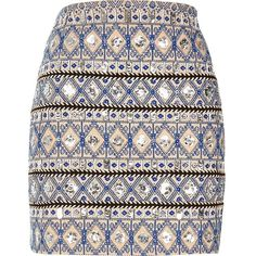River Island Blue embellished mini skirt (1.354.560 VND) ❤ liked on Polyvore featuring skirts, mini skirts, blue, women, jacquard mini skirt, blue sequin mini skirt, embellished mini skirt, blue skirt and embroidered skirt