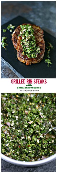 Grilled Rib Steaks With Chimichurri Sauce From Fire Up That Grill And Whip Up A Tasty Dinner Of Grilled Rib Steaks With Chimichurri Sauce. Present With Your Favorite Side Dish And Some Garlic Toast. Supper Never Looked Better Easy Dinner Recipes, Great Recipes, Easy Meals, Dessert Recipes, Favorite Recipes, Amazing Recipes, Dinner Ideas, Outdoor Cooking Recipes, Grilling Recipes