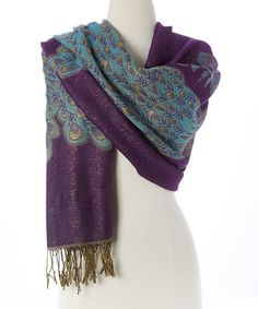 Look what I found on #zulily! Purple & Blue Peacock Scarf #zulilyfinds