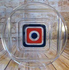 Vintage Walther Glass Bullseye Red Blue Tray Dusterhaus 1960's Retro Platter