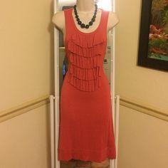Banana Republic Dress Cotton, comfy shift dress with flirty ruffles! Banana Republic Dresses Midi