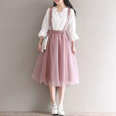 2017 Mesh Tulle Skirt Summer Japanese Mori Girl Women Long Suspender Skirts Korean Elastic Waist Midi Tutu Lolita Pink Saias #longtulleskirt