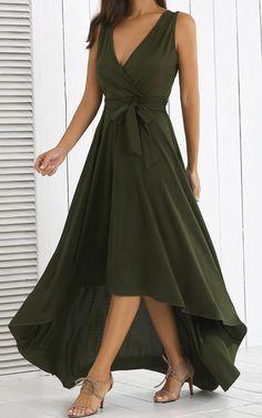 Gamiss Asymmetric High Waist Maxi Dress via @bestmaxidress