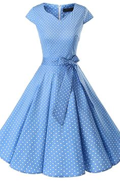 Dresses For Teens Blue Women's Vintage Tea Dress Prom Swing Cocktail Party Dress With Cap-Sleeves Vintage Tea Dress, Retro Dress, Vintage Dresses, Vintage Outfits, Vintage Tee, Pretty Dresses, Blue Dresses, Casual Dresses, Fashion Dresses