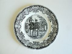 Black & White Plate 10 Luneville France by LaBelleEpoqueDeco