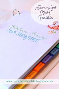 The Uncluttered Lifestyle: Finally Here... Home Management Binder Printables! (Home inventory sheets, car maintenance logs, etc! Great printables)