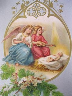 Antique embossed German Christmas Postcard. Angels and baby Jesus.1902 by grandma62 for $1.00