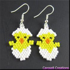 15.00 Easter Chick Beadwork Handmade Seed Bead Holiday Dangle Earrings