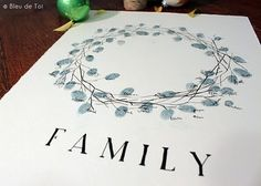 thumbprint wreath (or tree). guests ink their thumb or finger and leave a mark with their name or initials. around a wreath image or on a tree image (prints as leaves).