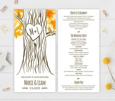 Ceremony programs  Printed programs for wedding  Forest