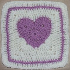 April's Purple Passion Heart Square   Finished size: Approx 6 1/2 x 6 1/2 inches (Or 7 1/2 x 7 1/2 inches with optional row 7)  Materials: ...
