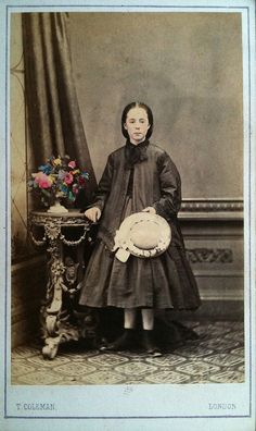Tinted girl with hat and flowers cdv