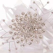 Sparkling Brooch Corsage for Prom with White Ribbon Loops
