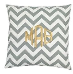 Monogrammed Grey Chevron Throw Pillow...comes in all sorts of colors and different monogram styles!